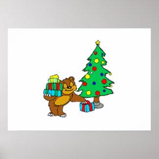 Teddy Bear and Christmas Tree Print