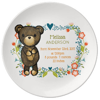 Teddy Bear and Floral Designs Baby Birth Plate