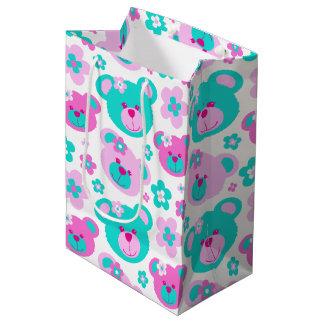 Teddy bear and flowers pink aqua white gift bag