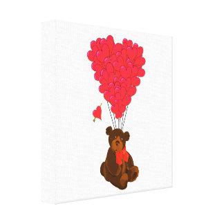 Teddy bear and  heart balloons stretched canvas prints