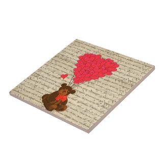 Teddy bear and heart ceramic tiles