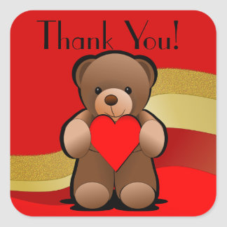 Teddy Bear and Heart Thank You Square Sticker