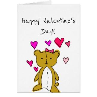 Teddy Bear and Hearts Card
