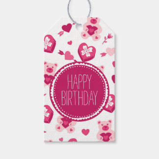Teddy Bear and Love Happy Birthday Gift Tag Pack Of Gift Tags