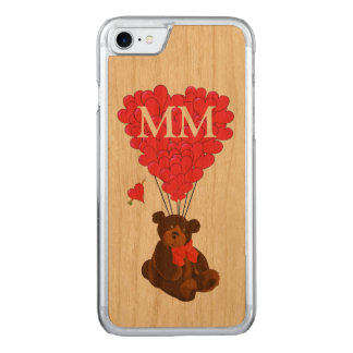teddy bear and love heart carved iPhone 8/7 case