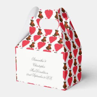 Teddy bear and red love  heart wedding favor box