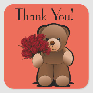 Teddy Bear and Roses Thank You Label