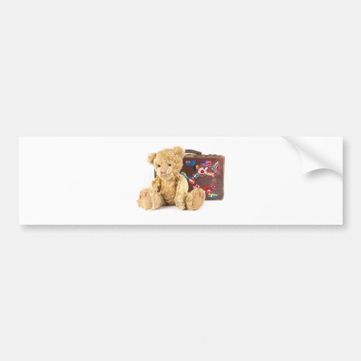 teddy bear and vintage old suitcase with world sti bumper stickers