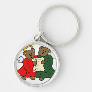 Teddy Bear Angels in Red and Green Choir Robes Silver-Colored Round Keychain