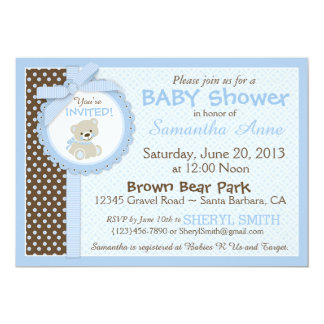 "Teddy Bear Baby Boy Baby Shower Blue 5"" X 7"" Invitation Card"