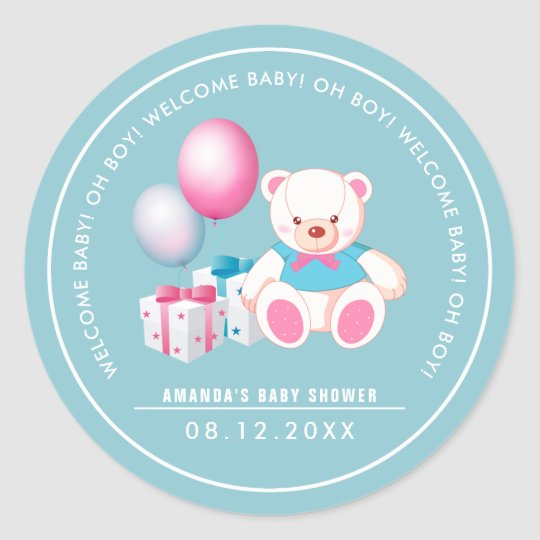 Teddy Bear | Baby Boy Baby Shower  Favour Stickers