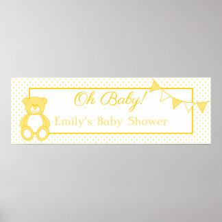 Teddy Bear Baby Boy Banner Posters