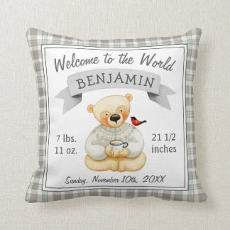 Teddy Bear Baby Boy Birth Stats Throw Pillow