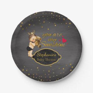 Teddy Bear Baby Boy Shower | Chalkboard Prince 7 Inch Paper Plate