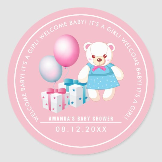 Teddy Bear | Baby Girl Baby Shower Favour Stickers