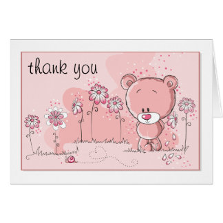 Teddy Bear Baby Shower Invitation - Pink Note Card