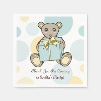 Teddy Bear Baby Shower or Kids Birthday Template Paper Napkins
