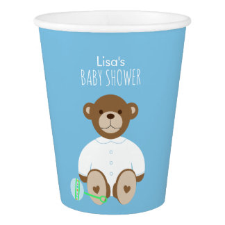 Teddy Bear Baby Shower Paper Cup, blue background Paper Cup