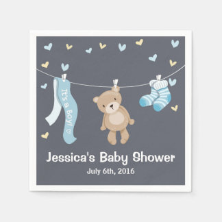 Teddy Bear Baby Shower Paper Napkin Boy Grey Blue