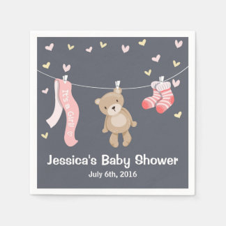 Teddy Bear Baby Shower Paper Napkin Girl Grey Pink