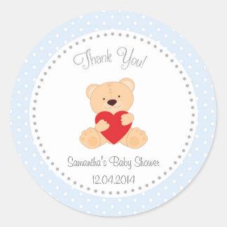 Teddy Bear Baby Shower Sticker Blue