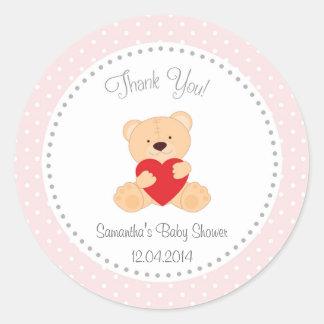 Teddy Bear Baby Shower Sticker Pink