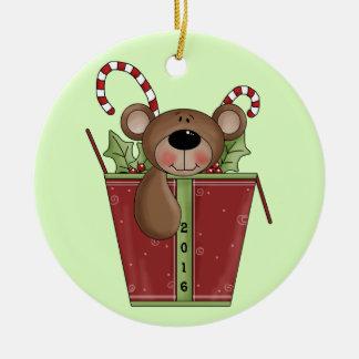 Teddy Bear - Baby's 1st Christmas Round Ceramic Ornament