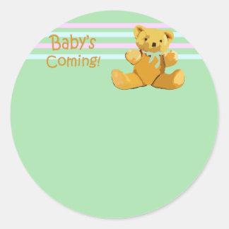 teddy bear babys coming classic round sticker