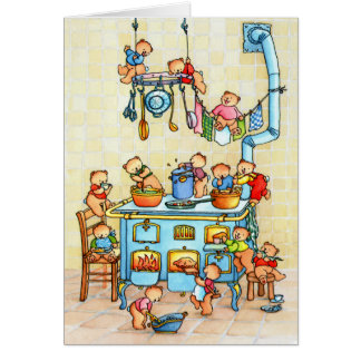 Teddy bear Bears Cooking in Kitchen Childrens Card