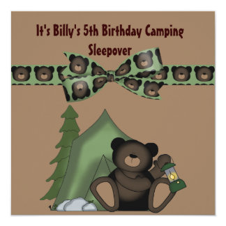 Teddy Bear Birthday Camp Sleepover 5.25x5.25 Square Paper Invitation Card