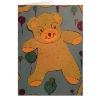 Teddy bear birthday card for 1 to 3 year old.
