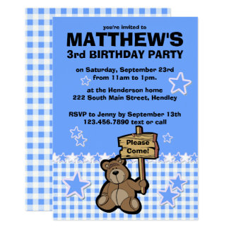 Teddy Bear Birthday Invitation for a Boy