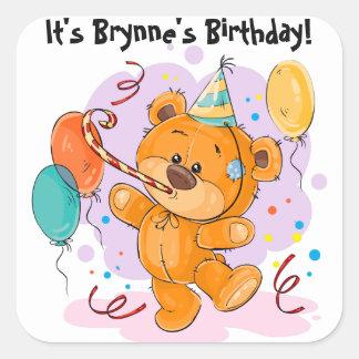 Teddy Bear Birthday Party Square Sticker
