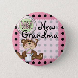 Teddy Bear Black Dot on Pink 2 Inch Round Button
