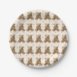 Teddy Bear Blue and Tan Polka Dotted cake  Plate 7 Inch Paper Plate