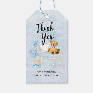 Teddy Bear Blue Baby Shower Gift Tag Pack Of Gift Tags
