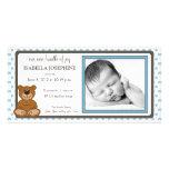 Teddy Bear Blue Customized Birth Announcement Customized Photo Card