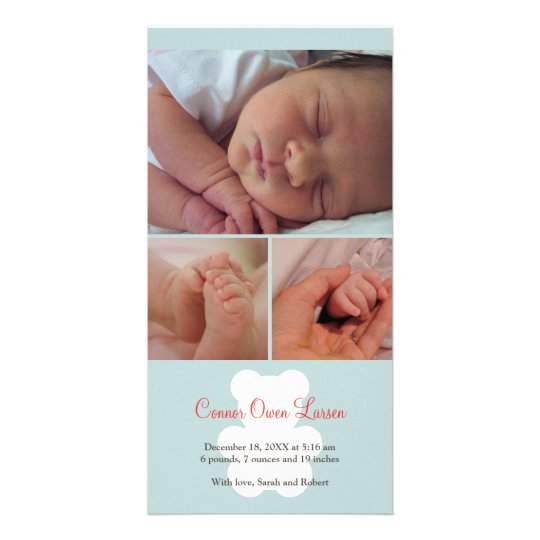 Teddy bear blue montage baby birth announcement card