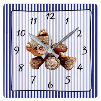 Teddy Bear Blue Striped Baby's Nursery Clock