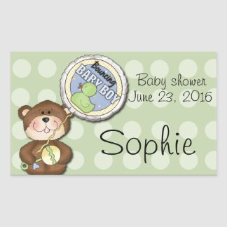 Teddy Bear Boy Brown Green Sticker