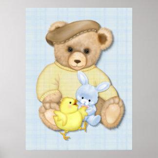 Teddy Bear Boy Nursery Fun Poster