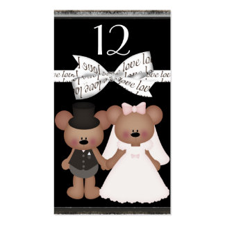 Teddy Bear Bride & Groom Wedding Business Card Templates