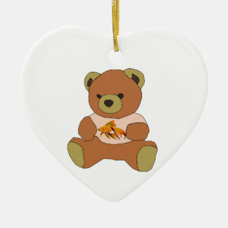 Teddy Bear Ceramic Heart Ornament