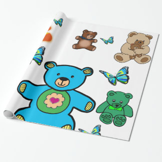 teddy bear childrens wrapping paper