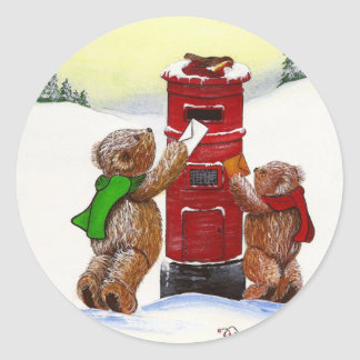 Teddy Bear Christmas Card Classic Round Sticker