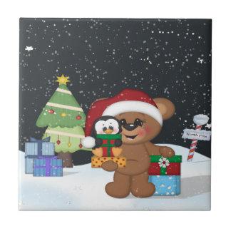 Teddy Bear, Christmas Tree, Cute Snow Scene Tiles