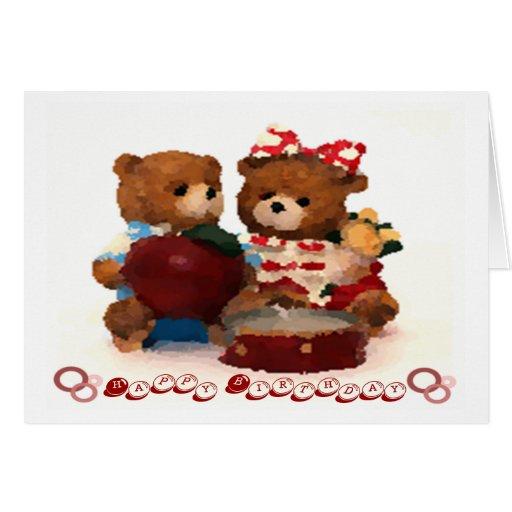 Teddy bear couple happy birthday greeting card | Zazzle