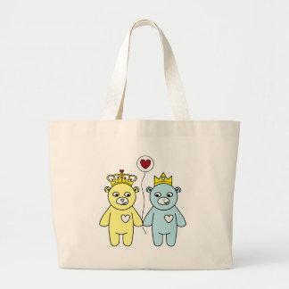 teddy bear couple large tote bag