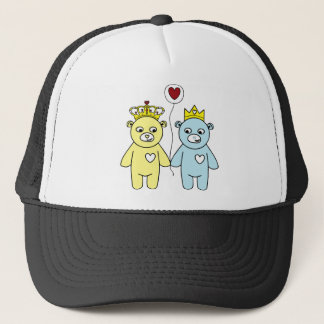 teddy bear couple trucker hat