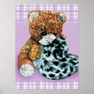 Teddy bear cuddles baby light purple print